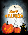Retro Halloween night background with two pumpkins - PhotoDune Item for Sale