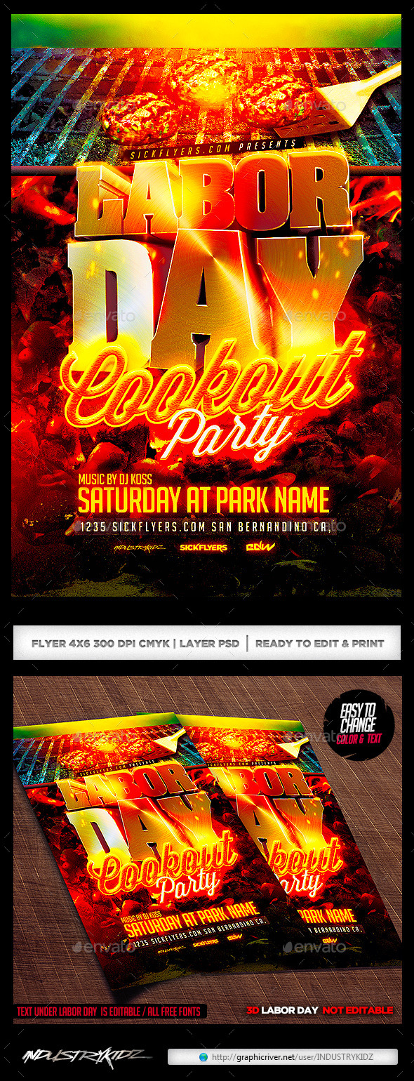 Labor Day Cookout Party Flyer Template - Holidays Events