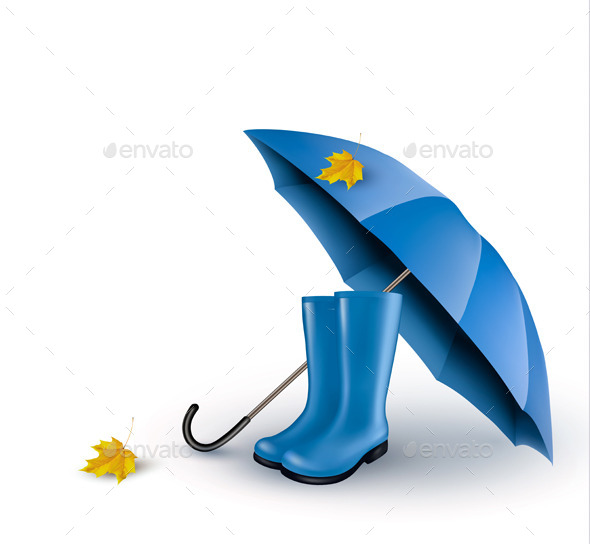 GraphicRiver Background with Umbrella and Rain Boots 9276550