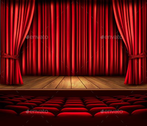GraphicRiver Cinema or Theater Scene with a Curtain 9276554