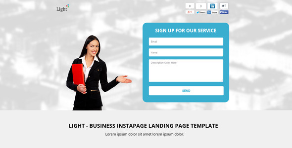 Light Business Instapage Landing Page Template