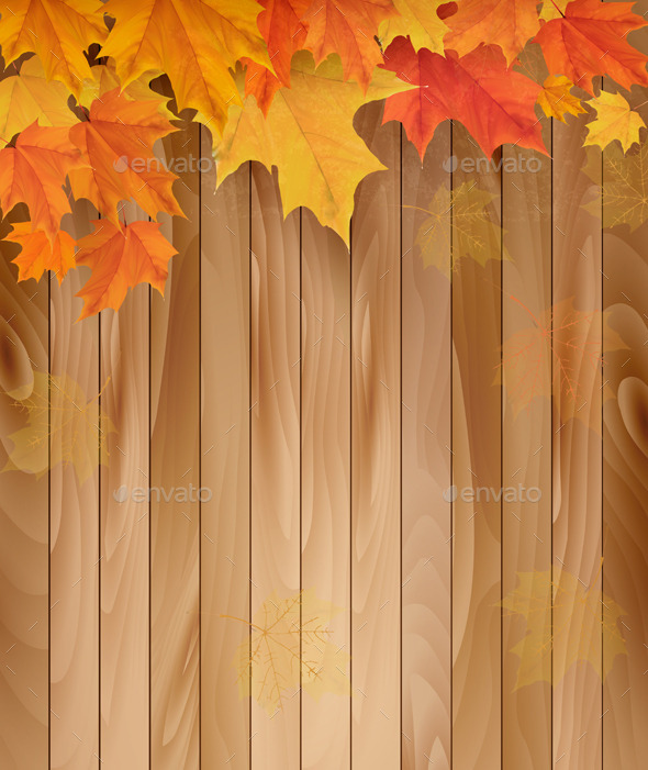 GraphicRiver Wooden Background with Autumn Leaves 9276685