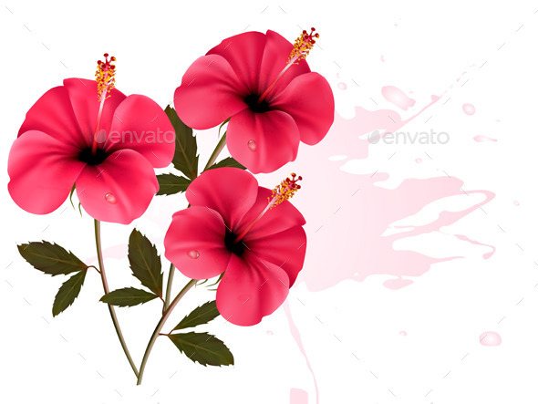 GraphicRiver Three Pink Flowers Background 9276690