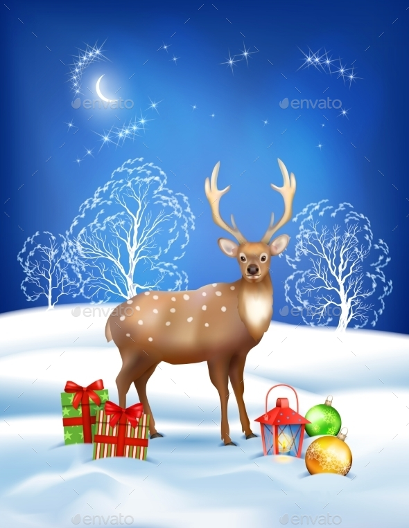 GraphicRiver Vector Christmas Winter Night Background 9276691