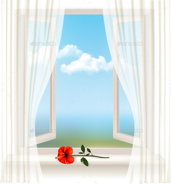 Background with an Open Window and a Red Flower