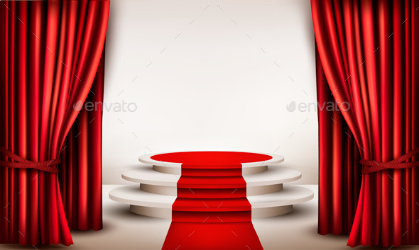 GraphicRiver Background with Curtains and Red Carpet 9276804