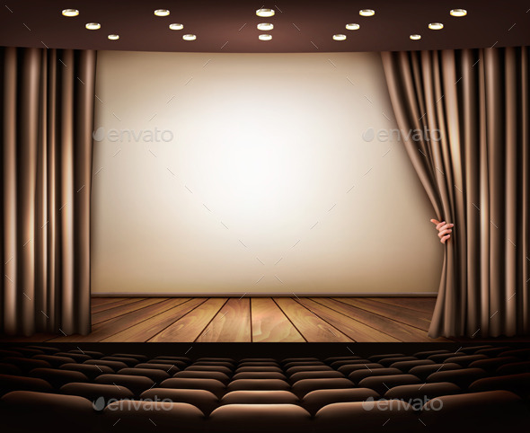 GraphicRiver Cinema or Theater Scene with a Curtain 9276818