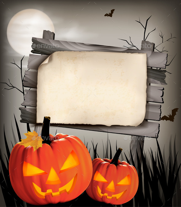 GraphicRiver Halloween Background with Two Pumpkins 9276839