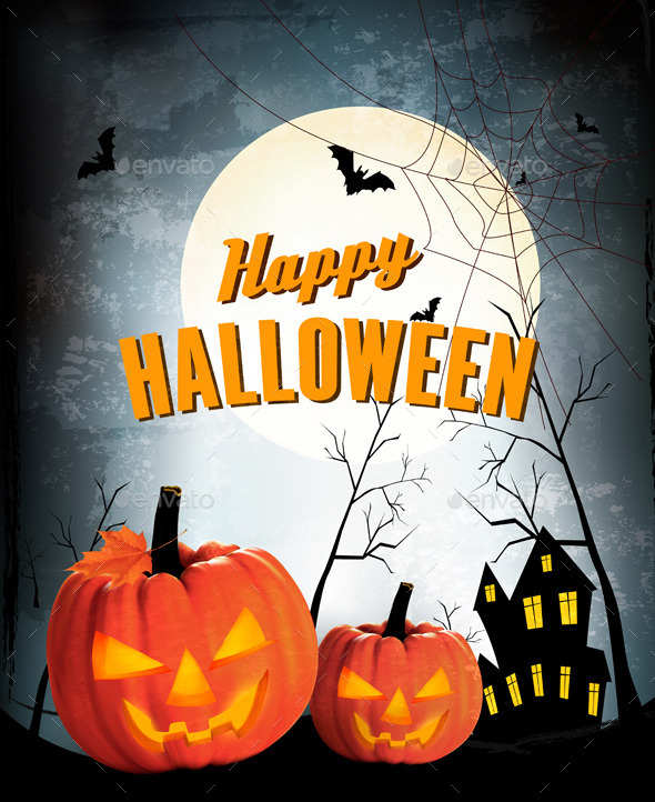 GraphicRiver Retro Halloween Night Background with Two Pumpkins 9276847
