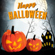 Retro Halloween Night Background with Two Pumpkins - GraphicRiver Item for Sale