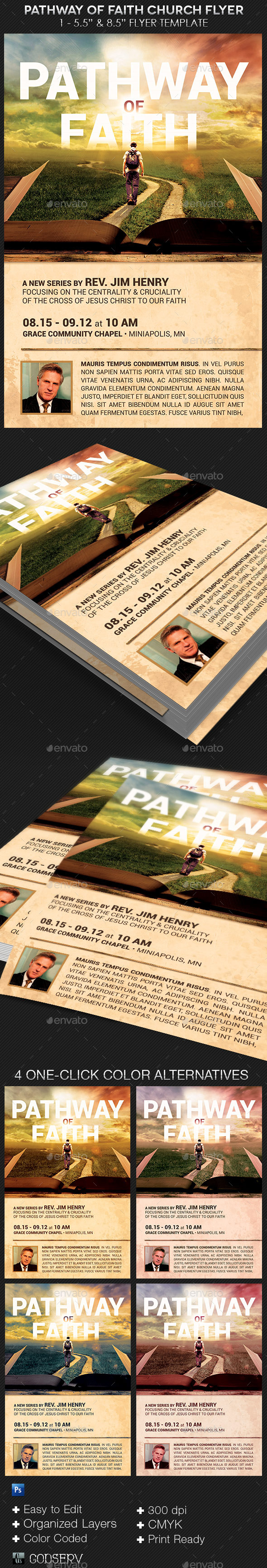 GraphicRiver Pathway of Faith Church Flyer Template 9276889