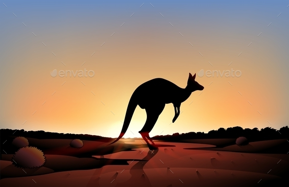 GraphicRiver A Sunset with a Kangaroo 9276905