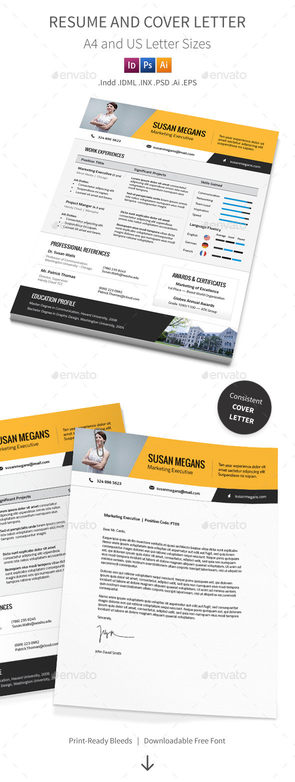 GraphicRiver Resume and Cover Letter A4 and Us Letter Sizes 9276977