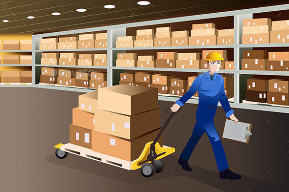 GraphicRiver Man Working in a Warehouse 9277013