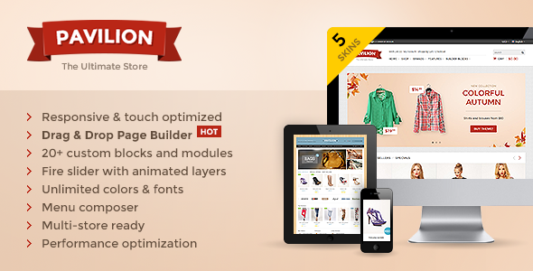 Pavilion is premium responsive OpenCart theme with 5 unique skins, tons of features and unlimited styling combinations. OpenCart 2.0 compatibility. Pavilion bri