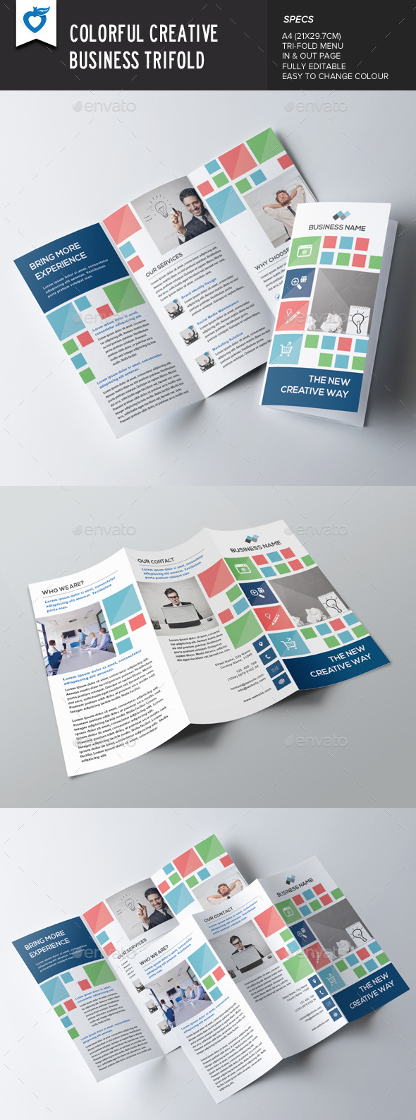 GraphicRiver Colorful Creative Business Trifold 9277163