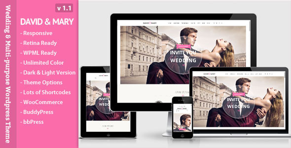 David & Mary is a Wedding Event & Multi-purpose Wordpress Theme. It's super simple. It has a responsive design meaning your content will be displa