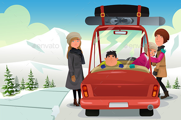 GraphicRiver Family going to a Winter Holiday Trip 9277196