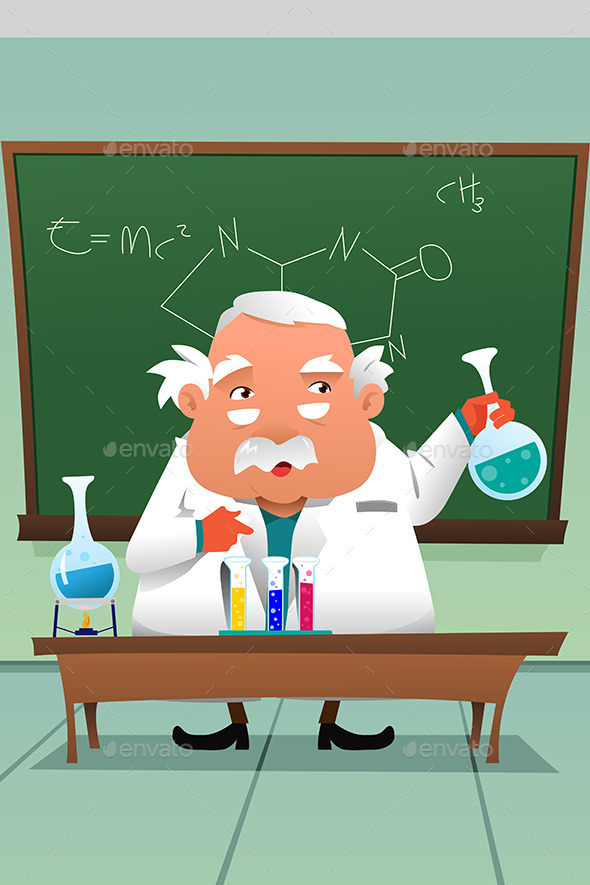 GraphicRiver Chemistry Professor working at the Lab 9277206