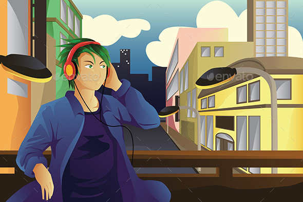 GraphicRiver Man Listening to Music 9277237