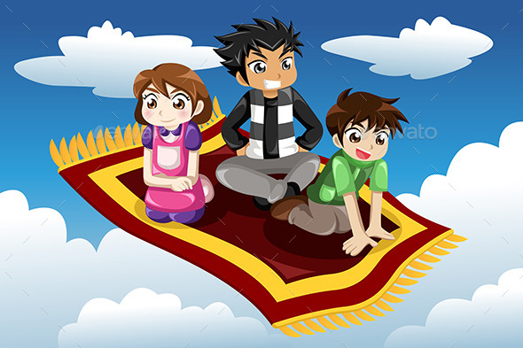 GraphicRiver Kids riding on a Flying Carpet 9277286