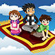 Kids riding on a Flying Carpet - GraphicRiver Item for Sale