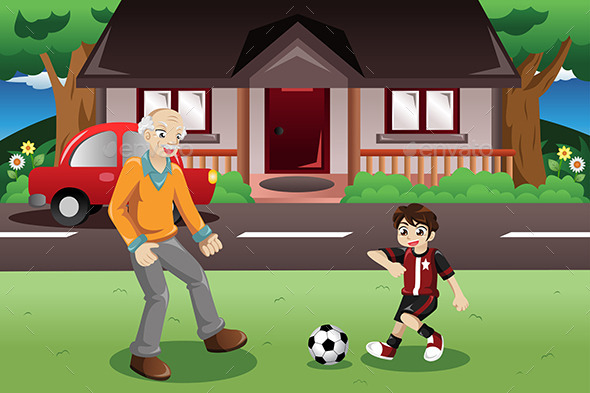 GraphicRiver Grandpa and Grandson playing Soccer 9277354