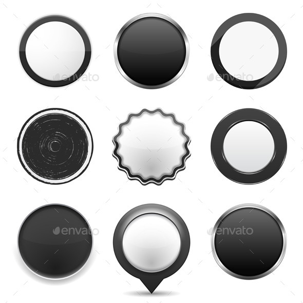 GraphicRiver Round Black Buttons 9277410