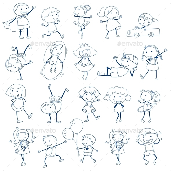 GraphicRiver Doodles of Kids Playing 9277472