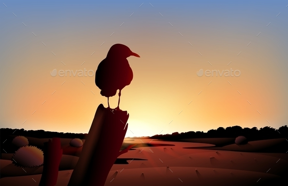 GraphicRiver Sunset View on Desert with Bird 9277511