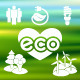Eco Icons Silhouettes on Blurred Background - GraphicRiver Item for Sale