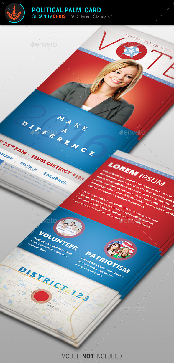 GraphicRiver Vote Political Palm Card Template 9277594