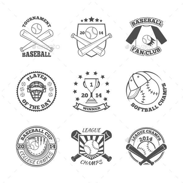 GraphicRiver Baseball Labels Icons Set 9278009