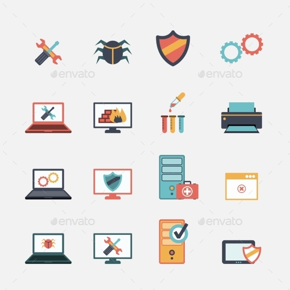 GraphicRiver Computer Repair Flat Icons Set 9278033