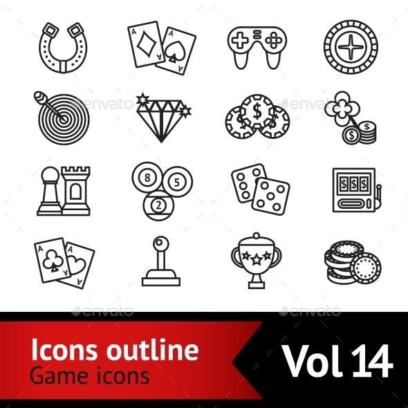 GraphicRiver Game Outline Icons Set 9278076
