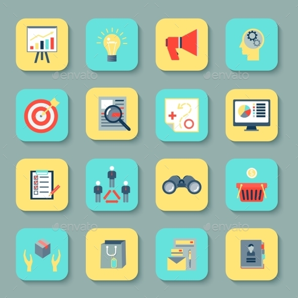 GraphicRiver Marketers Flat Icons Set 9278080