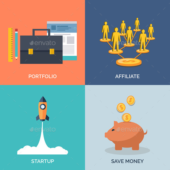 GraphicRiver Set of Flat Design Concept Icons for Business 9279084
