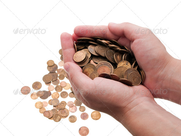 Coins in hands - Stock Photo - Images