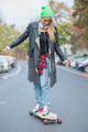 Young White Woman on Skateboard at the Street - PhotoDune Item for Sale