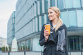 Businesswoman Outside Building with Coffee - PhotoDune Item for Sale