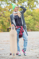 Pretty Cool Woman with Skateboard - PhotoDune Item for Sale