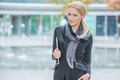 Blond Woman in Fashionable Black Office Attire - PhotoDune Item for Sale