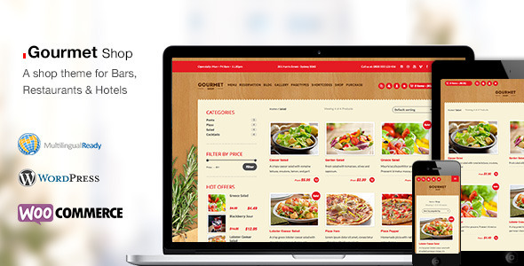 ThemeForest Gourmet Shop Restaurant Bar Shop WordPress Theme 9194348