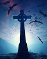Celtic Cross with swarm of bats against misty moon - 3D artwork - PhotoDune Item for Sale