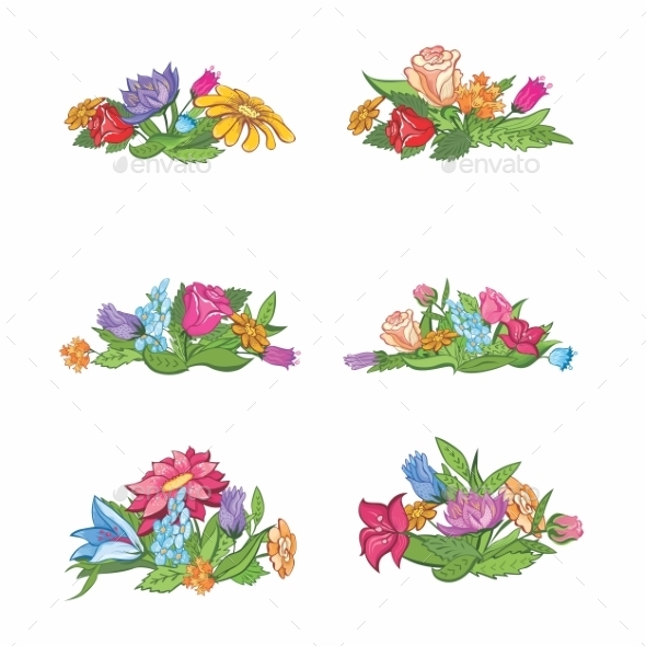 GraphicRiver Set of Flower Vignettes 9280063