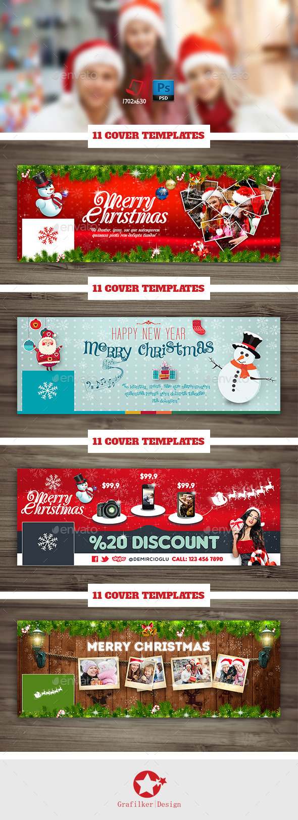 Christmas Timeline Cover Bundle Templates