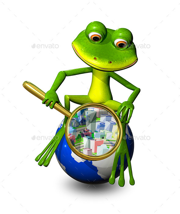 GraphicRiver Frog on a Globe with a Magnifying Glass 9280597