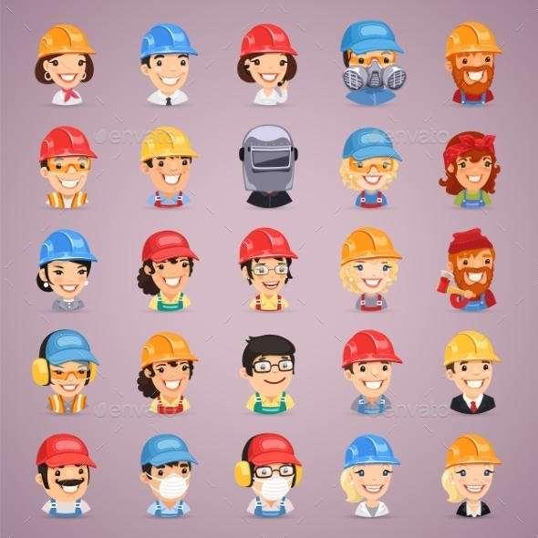 GraphicRiver Builders Cartoon Characters Icons Set 9280913