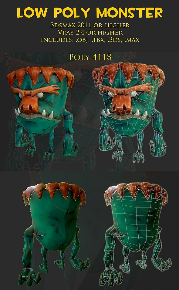 3DOcean Low poly Monster 9281590