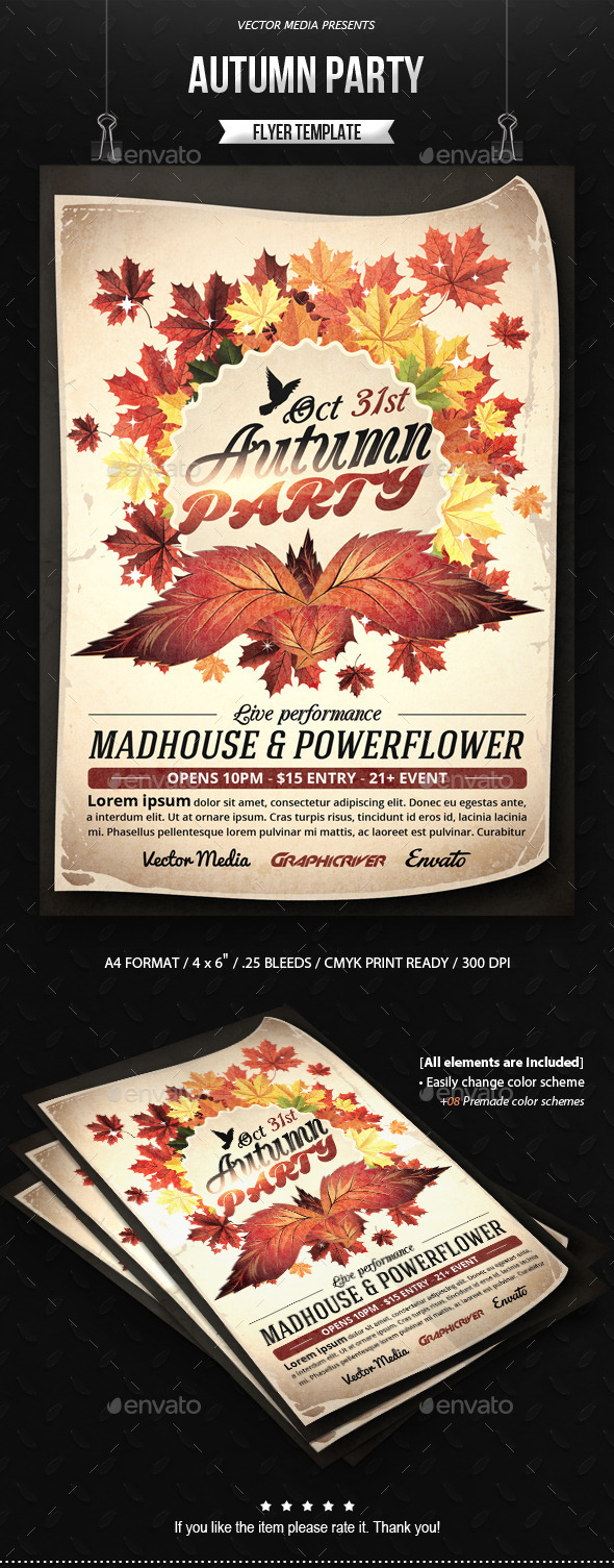 GraphicRiver Autumn Party Flyer 9241587